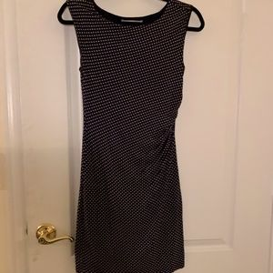 Loft Navy and White Polka Dot Fitted Cinched Dress